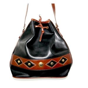 Vintage leather Aztec buckle bucket purse